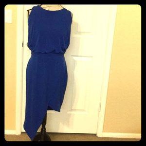 Pretty royal blue asymmetrical hem fancy dress